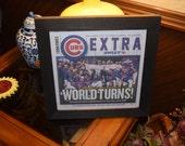 Chicago Cubs original newspaper complete 2016 National League Champs custom framed Sun-Times dark finish