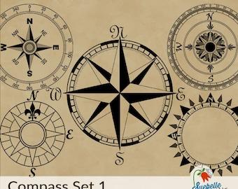 Photoshop Brush Stamp Set • Compasses Set 1 • 5 Unique Compass Brushes • ABR Photoshop File