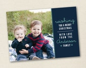 Modern Holiday Photo Card - Modern Christmas Photo Card - Custom Photo Greeting Card - Wishing you a Merry Christmas