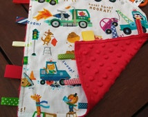 Taggie Baby Comforter Blankie - tactile sensory security blanket for busy little hands - soft minky backing Novelty cars and trucks
