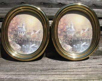 2 home interior homco picture swan church country lake vintage decor