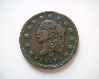 1837 Hard Times Token Liberty Not One Cent Smaller Head Millions for Defense 15 Stars HT 36 Low 22 R-3 Scarce