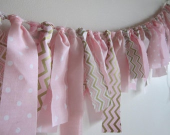 Pink and Gold Baby Girl Banner Ballerina Garland Baptism Garland Gender Reveal Party