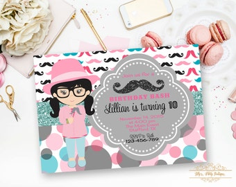 Mustache Girl Birthday Invitation, I Mustache Ask You Invitation- YOU PRINT