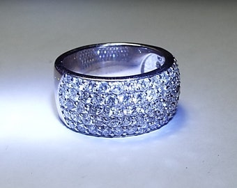 14kt white gold pave wide diamond band