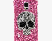 Samsung Galaxy Note S3 S4 S5 S6 edge / iPhone 6 plus 5 5S 5C 4S Handcrafted 3D Case Cover Luxury Bling Crystal Skull Cherry Magenta Pink_849