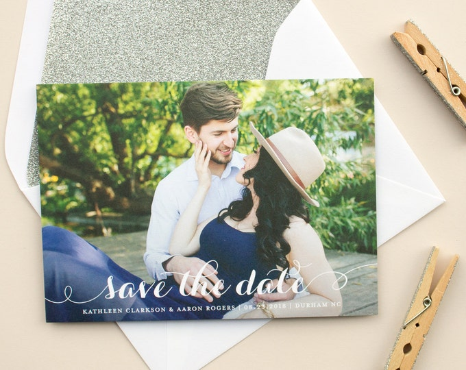 Save the Date Photo Card with Modern Calligraphy Script and  Full Bleed Photo, Wedding Photo Cards, Engagement Announcement | Merriment