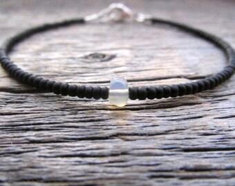 October Birthstone Bracelet, Opal Bead Bracelet, Ethiopian Opal Bracelet, Seed Bead Bracelet, Bead Stack Bracelet, Opal Gemstone Bracelet