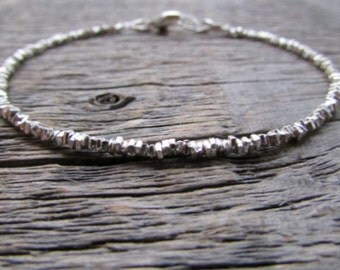 Hill Tribe Silver Bracelet, Silver Bead Bracelet, Silver Stack Bracelet, Boho Bracelet, Layer Bracelet, Karen Hill Tribe Bracelet, Boho Gift