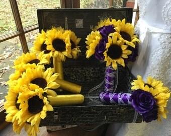 Sunflower Wedding Bouquet Purple Rose 17 piece Flower Set, Sunflower Bridal Bouquet, Yellow Purple Bouquet Sunflower Rustic Wedding Bouquet