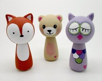 Fox Peg Doll, Owl Peg Doll, Teddy Bear Peg Doll, Woodland Peg Dolls, Cake Topper
