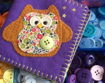 Owl Liberty print needle book