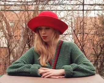 On sale Red felt women wide brim hat vintage style handmade hat, gatsby style