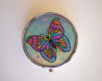 Butterfly pill box, Pill case,  Pill container, Jewelry box, Mint case, Pills, Butterfly