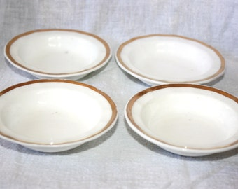 Antique Set of 4 French Porcelain Finger Bowls White with Gold trim