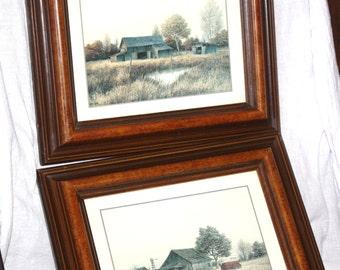 Vintage Pair of Gene Speck Framed Signed Barn Prints