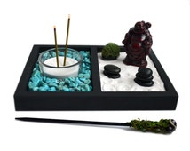 Mini Zen Garden // Laughing Buddha Statue // Incense Burner // Desk Accessory // Turquoise // DIY Kit // Meditation / Tealight Candle Holder