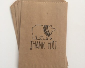 Tribal Bear Arrow Thank You Kraft 4x6 Favor Bags, Set of 25