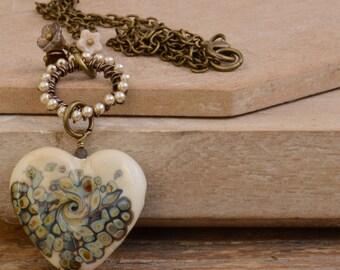 Cream Lampwork Glass Heart Pendant with Czech Flowers, Beaded Czech Pearl Ring & Antique Bronze Chain UK Seller OOAK
