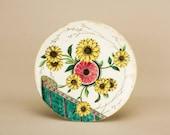 Antique Aesthetic Movement Sunflowers Serving DISH Pottery Doulton Sandwich Medium Elegant Dinner English 1880s LS