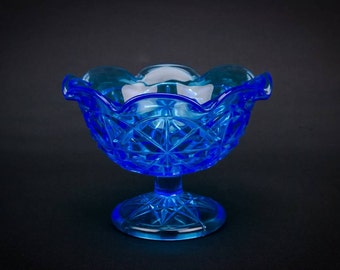Glass Unusual Panelled Small Serving Cereal BOWL Art Deco Blue Vintage Dinner English 1930s LS