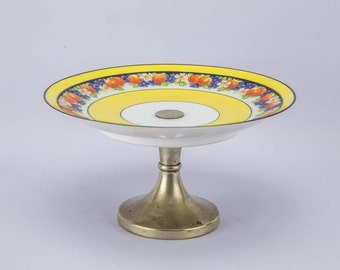 Art Deco Vintage Pottery A Co CAKE STAND Dinner Yellow Small Luxurious Flowers And Fruits Unique English 1930s LS