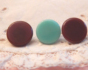 Chocolate Brown and Aqua Glass Buttons - 3