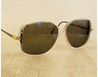 Vintage Eye Glasses 60s 70s Huge Navy Blue Gold Plastic Sun Prescription Shades