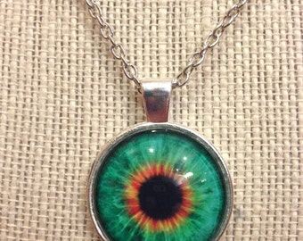 "18"" Silver Green&Yellow Eye Ball Glass Pendant Necklace"