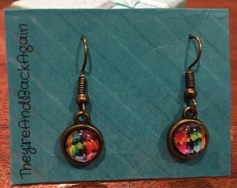 8mm Multicolored TriangleGrid Glass Dangle Earrings