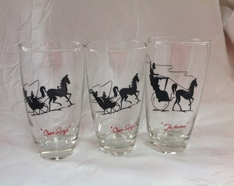 Three Vintage Drinking Glasses Anchor Hocking Glasses Clear Glass With Black and Red