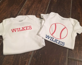 Baseball 0-3 Month Onesie