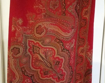 Stunning Talbots Petites Red Paisley Tissue Wool Lined Maxi Wrap Skirt - Size 12