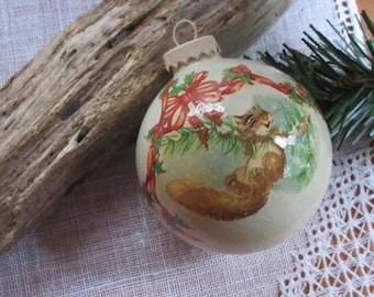 Christmas Glass Ornament Squirrel Ornament  Handmade   Rustic  Bauble Squirrel Decoration