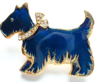 Fabulous Unsigned Vintage Blue Scottie Dog with Rhinestone Collar Brooch/Pin