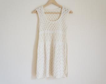 Vintage Crochet Tunic / Vintage Handmade Tunic