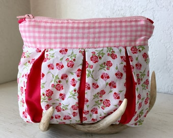 Gilliflower Gingham Pleated Bag - makeup bag, pencil case, small purse