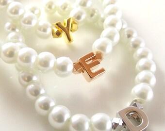 Flower Girl Gift- Flower Girl Bracelet- Children's Pearl Bracelet- Kids Initial Bracelet- Flower Girl Jewelry- Baby Child Infant Bracelet
