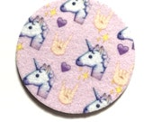 Unicorn Face emoji car coasters for your cup holders with sign or the horn emoji - Free Shipping - Two Emoji auto coasters - Unicorn emoji