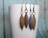 Feather Earrings - Leaf Earrings - Metal Leaf Jewelry - Metal Feather Earthy Earrings - Nature Earrings - Copper Silver Bronze Gold Earrings