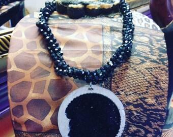 Beaded Black Queen Necklace