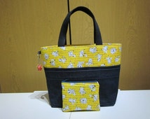 """Pokemon Denim Tote Bag with 3 Pockets on the front, Pokemon Bag Charm, Matching Coin Purse,Size W13.5"""" x H9.5"""" x D4"""", Gift Idea!"""