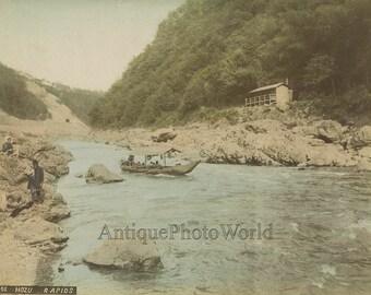 Boat on Hozu Rapids Japan antique tinted albumen photo