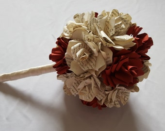 Deep red rose and book flower wedding bouquet and buttonhole with handmade paper roses