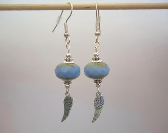 Blue Czech glass beads bronze earrings with a silvery wing- Gypsy chic jewelry - Bohemian style