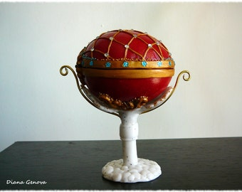 Easter Egg, red, Faberge style, OOAK, handmade, polymer clay, by Diana Genova