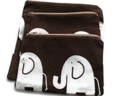 Reusable Zipper Snack Sandwich Bags set of 3 Brown White Elephants Cotton Twill