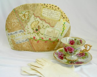 Downton Abbey Theme Teapot Cozy Hand Made Assorted Prints Hand Embroidery Emblishments Crazy Quilted OOAK  Insulated FREE US Shipping