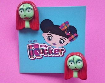 Quirky, Sally,Nightmare Before Christmas, Kawaii, Kitsch,Emo, Goth, Stud Earrings, WHO'S Off Her Dolly Rocker