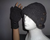 Handknitted womens charcoal grey color hat and fingerless gloves with buttons SPECIAL ORDER for elenacotto